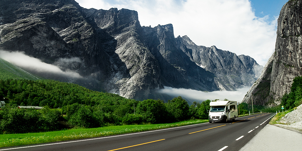 camping holidays car on the mountain road, norway